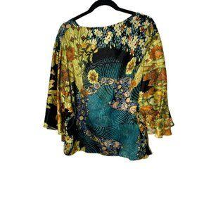Ravon by Von Vonni Floral 3/4 Sleeves Blouse OS
